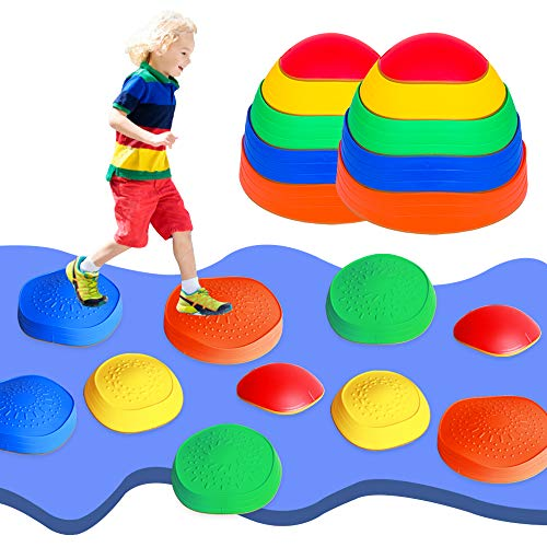 OMNISAFE 10 Pcs Balance Stepping Stones Obstacle Course for Kids, Indoor & Outdoor Toy Helps Build Coordination & Strength, Non-Slip Textured Surface and Rubber Edges