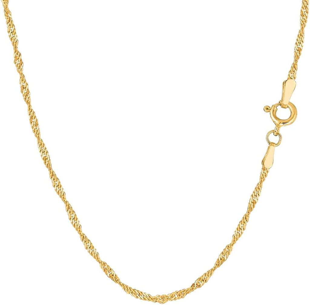 14K Yellow Gold 0.80mm, 1.00mm, 1.5mm, 1.7mm, 2.1mm Shiny Diamond-Cut Classic Singapore Chain Necklace Or Bracelet for Pendants and Charms with Spring-Ring Clasp(7
