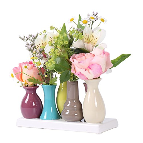 Keramikvasenset Blumenvase Keramikvasen bunt Vase Blumen Pflanzen Keramik Set Deko Dekoration (7 Vasen, bunt)