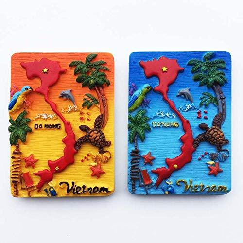 shenlanyu Imanes de nevera 2 unids World Turist Nevera Imán de recuerdo Hanoi Vietnam Resina Imanes de Refrigerador Pegatina País Viajes Decoración