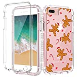 Caka Christmas Case for iPhone 6 Plus 6s Plus 7 Plus 8 Plus, Glitter Clear Christmas Theme Design Case for Girls Women Girly Bling Diamond Full Body Protective Holiday Case - Gingerbread Man