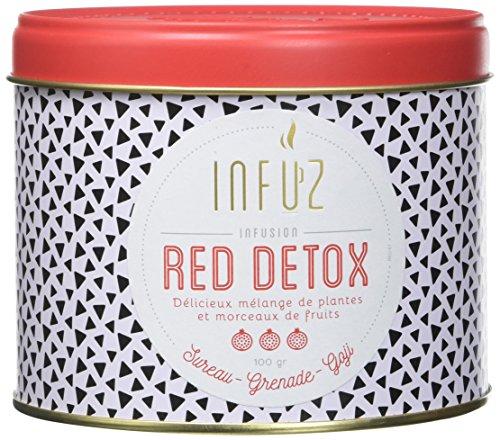 Infuz – Red Détox – Infusion en Vrac – Grenade Goji & Sureau – Favorise L'Élimination des Toxines – Ingrédients d'Origine Naturelle - 100G