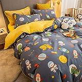 Juego de ropa de cama con funda de edredón-Franela de algodón más terciopelo ab funda de edredón sábana gruesa cama de...