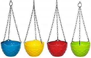 Nursery Hub Metal-plastic Plant Container, Blue, Green, Orange , Yellow, 12 cm, 4 Pieces
