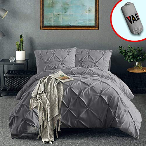 Vailge 3 Piece Pinch Pleated Duvet Cover with Zipper Closure, 100% 120gsm Microfiber Pintuck Duvet Cover, Luxurious & Hypoallergenic Pintuck Decorative (Grey,Full)
