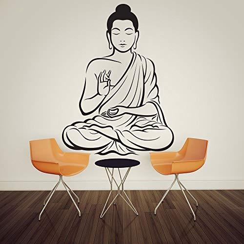 Home sticker meditatie Boeddha standbeeld yoga god muur sticker kunst decoratie sticker vinyl muurschildering 87x123cm