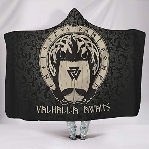 Generic Brand - Manta con capucha portátil Viking Valhalla espera impresa, poncho para adolescentes de viaje, color blanco