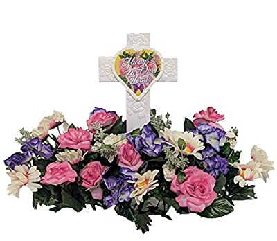 Fire Glo Solar Powered Glow in The Dark Memorial Cross with Flower Bouquette-Graveyard/Cemetary Decorations