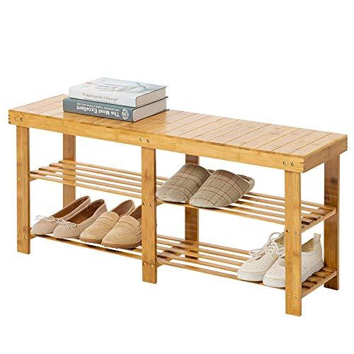 GUOCAO Zapatero de madera de 2 niveles para pasillo, banco de zapatos, organizador para ahorrar espacio, fácil de montar (color: natural, tamaño: 100 x 25 x 45 cm)