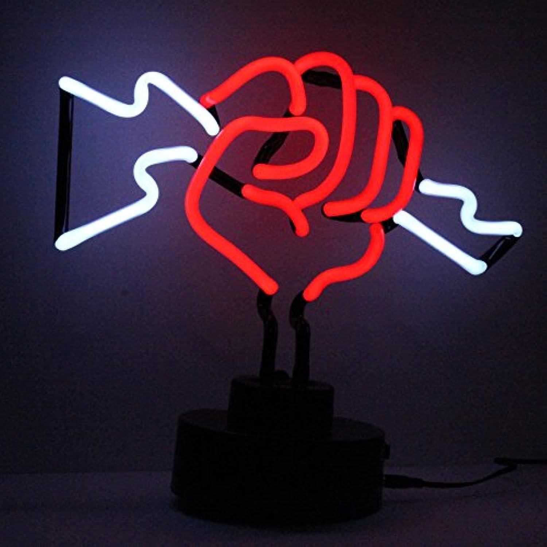 Icon Neon Lightning with Fist Skulptur mit echter Neon-Beleuchtung, Grün