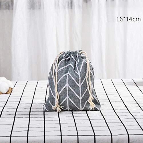 CCMOO 5 stuks draagbare tas met trekkoord katoen handtas opbergtas reizen make-up tas kleding organisatie kleding opslag