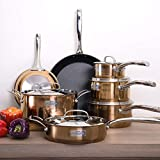 Fleischer & Wolf Nonstick (Fry) Cookware Set 12pcs Stainless Steel Aluminum Induction Pots Pan Dishwasher Safe (Copper)