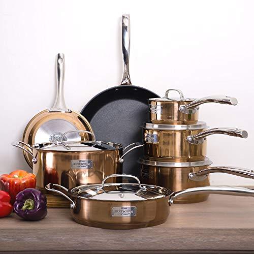 Fleischer & Wolf Nonstick (Fry) Cookware Set 12pcs Stainless Steel Aluminum Induction Pots Pan...
