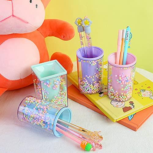 YiXing Soporte para bolígrafos creativo, organizador de oficina, cosmético, cuadrado, para lápices, papelería, almacenamiento de oficina, suministros escolares (color : forma cuadrada morada)