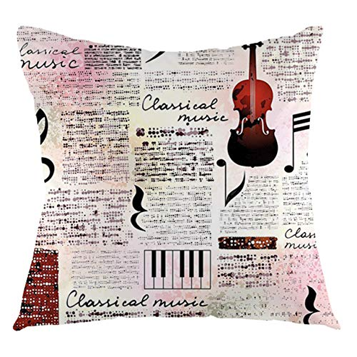 FULIYA Funda de cojín con diseño de periódico antiguo, diseño de música clásica, instrumentos de piano, violín, notas, símbolos decorativos, cuadrados, 40,6 x 40,6 cm, rubí, rosa claro, negro