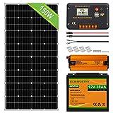 ECO-WORTHY 150W 0.6KWH / día 12V Off Grid Kit completo de sistema de energía solar: Panel solar de 150W + Controlador de carga LCD de 20A + Batería de litio de 20AH 12V + Inversor de 600W