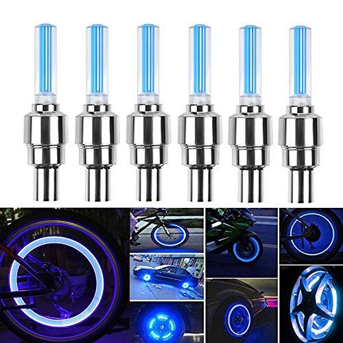 HSIQIAN LED Ventil Kappen Reifen Beleuchtung Licht Felgenlicht Tuning Speichen Licht für Fahrrad Felgen Auto Bike Valve Caps 8Pcs (Blau)