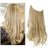 SARLA 14' 16' 18' 4.2oz Synthetic Wavy Halo Hair Extension Natural Hairpieces No Clip No Glue No Tape M01 (18' wave,#16H613 Dirty Blonde)