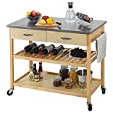 CharaVector Kitchen Islands Carts with Wheels Stainless Steel Counter Top 3 Tier Rolling Portable Island for Kitchen with Drawer 2 Spacious Storage Butcher Block Bar Carts Wood Frame