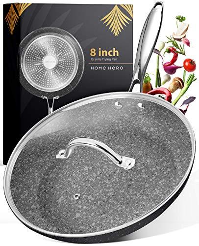 Granite Frying Pan with Lid  Nonstick Frying Pan Frying Pans Nonstick Skillets Nonstick with Lids Nonstick Pan with Lid Pan Granite Pan Skillet Nonstick Skillet 8 Inch Granite Pans for Cooking
