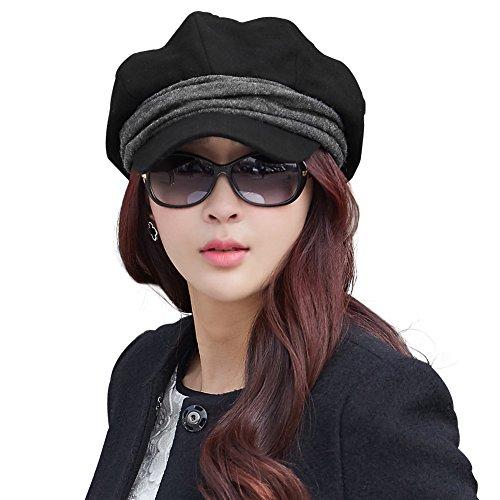 Comhats Baumwolle Schirmmütze Baskenmütze warme Zeitungsjunge Mütze Barett Mütze Cabbie Damen Mit Visor schwarz