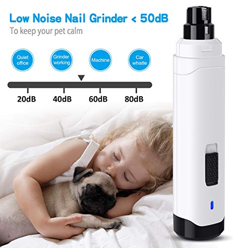 Casfuy Dog Nail Grinder Upgraded - Professional 2-Speed Electric Rechargeable Pet Nail Trimmer Painless Paws Grooming