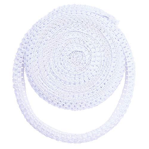 BENECREAT 11 Yards 1.5' Wide Elastic Crochet Headband Ribbon Crochet Stretch Trim for Hair Accessories and Tutus Dresses, White