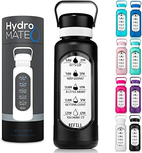 HydroMATE 32 oz Glass Water Bottle with Straw and Motivational Time Markings in Plastic Sleeve product image