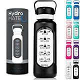 HydroMATE 32 oz Glass Water Bottle with Straw and Motivational Time Markings in Plastic Sleeve Drink More Water Bottle for Gym Sports Hydro MATE 1 Liter (08-Black)