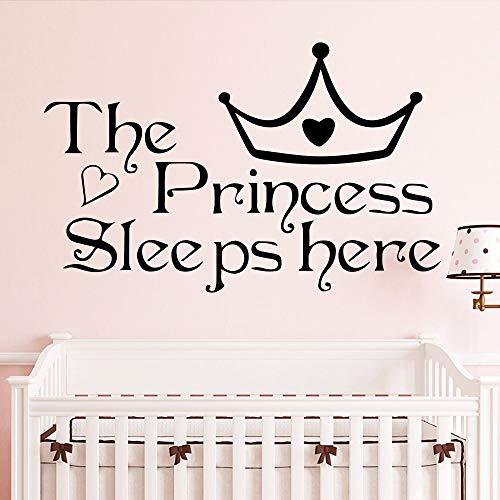 Schöne zitate die prinzessin schläft hier krone aufkleber für kinder baby raumdekoration mädchen wandaufkleber vinyl vinyl kunst 58X36cm