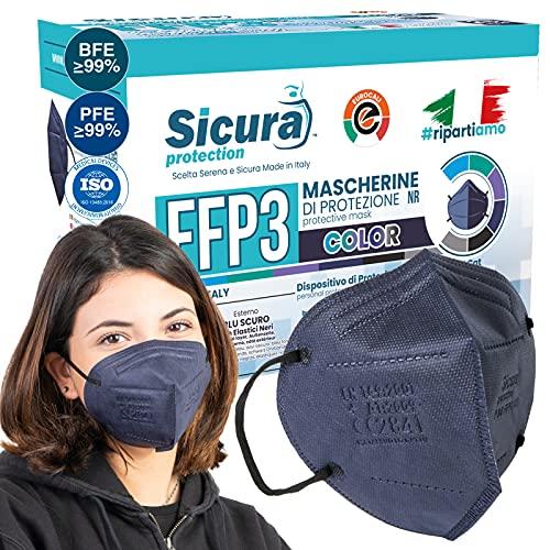 25x CE-zertifizierte FFP3 Masken Blau mit Schwarzen Gummibänder Made in Italy mit aufgedrucktem SICURA-Logo PFE ≥99% BFE ≥99% SANIFIZIERT einzeln versiegelt ISO 13485 und 9001 zertifiziert