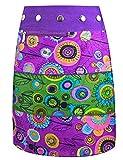 SUNSA Kinder Rock Minirock Wickelrock Wenderock Sommerrock Kinderrock aus Baumwolle, 2 optisch verschiedene Röcke, Größe ist variabel verstellbar durch Druckknöpfe