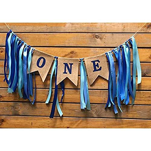 Yojoloin 1. Geburtstag Dekorationen Baby erste Sackleinen Hochstuhl Banner Boy 1. Alles Gute zum Geburtstag Banner Party Dekorationen 1 Year Anniversary.
