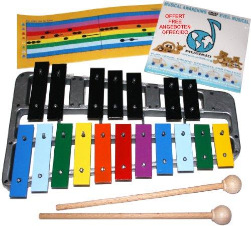 MUSIKID Xylophone Enfant 18 Notes ACCORDEES Haute qualité EU. Métallophone Outil pédagogique Efficace : Support Souple = Notes Amovibles