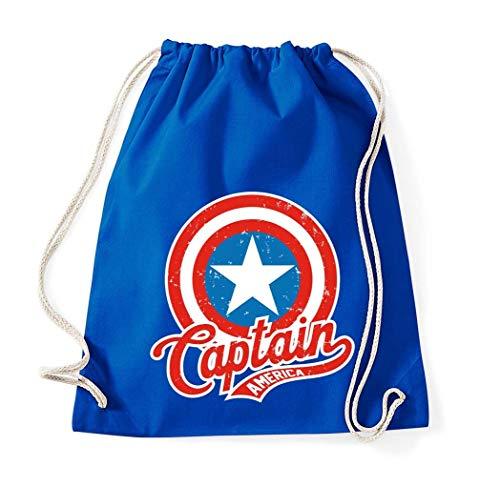 trvppy coton sac de gym/Modèle Captain America/dans de nombreux verch. Couleurs/Sacs Sac à dos jute sac sac de sport poche de Fashion Hipster - Bleu - Taille Unique