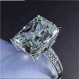 Fashionable Imitation 6 Carat Luxury Rectangular 3A Zircon Engagement Ring Set with Man-Made Diamonds for Women (6)