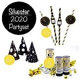 L+H Silvester Party Set 2021 | Party Deko Set mit über 15 Premium-Teilen | 10x hochwertige ökologische Trinkhalme, 3X Partypopper, 6X Partyhüte wiederverwendbar | Happy New Year Dekoration