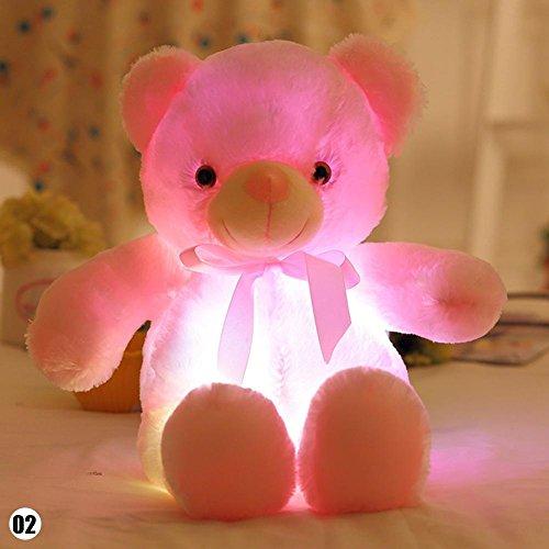 Teabelle Colorfu - Peluche de oso con luz LED, 30 cm