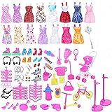 Dizie 114 Piezas muñecas Accesorios de Ropa para Barbie casa de muñecas Juguetes para niños Trajes de Ropa Zapatos Bolsas Percha vajilla Bicicleta Carro para cumpleaños de niñas