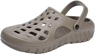 2019 Mens Fashion Sandals Mens Clogs Sandals Water Shoes Elastic Plastic Hollow for Men Slip On Style Breathable Light Dual Purpose Light Weight Flexible Dual Purpose (Color : Khaki, Size : 6 UK)