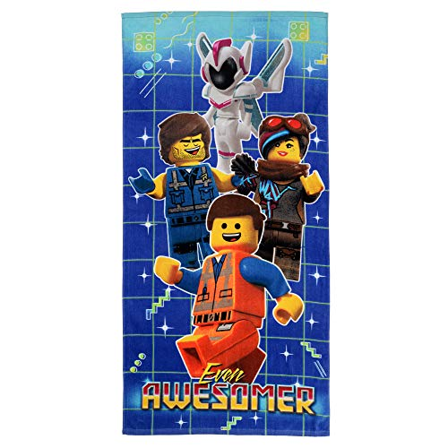 "Franco Kids Cotton Beach Towel, 28"" x 58"", Lego Movie 2 Even Awesomer"