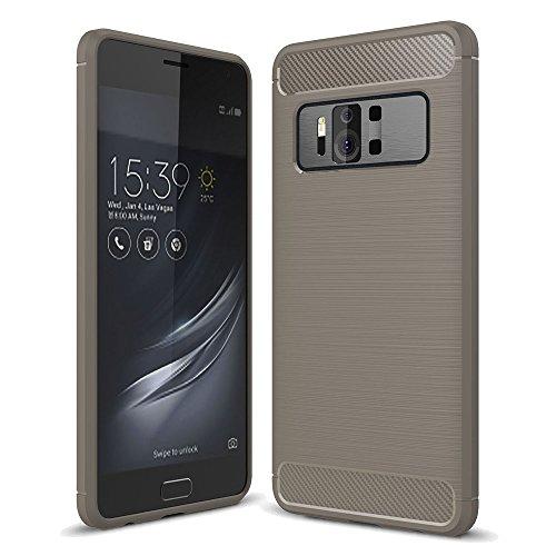 König Design Handy-Hülle kompatibel mit Asus Zenfone AR ZS571KL Silikon Hülle Hülle Sturzsichere Back-Cover Handyhülle - Carbon - Grau