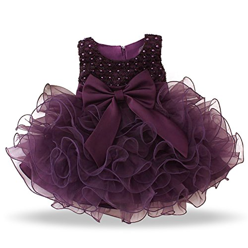NNJXD Mädchen Party Pailletten Prinzessin 6 Multi Layer Tutu Tüll Kleid Größe(70) 0-6 Monate Lila