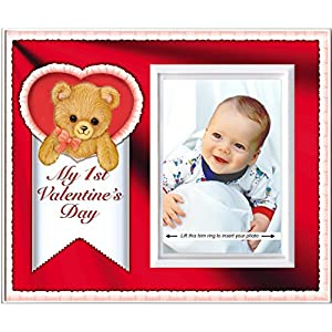 My First Valentine's Day: Baby's 1st Valentines Day Picture Frame | Colorful Photo Frame Nursery Decor | Gift Photo Frame for Grandma, | Easy to Mail, Size 8.25 x 7 in Holds 3.5 x 5 Photo | Red Theme