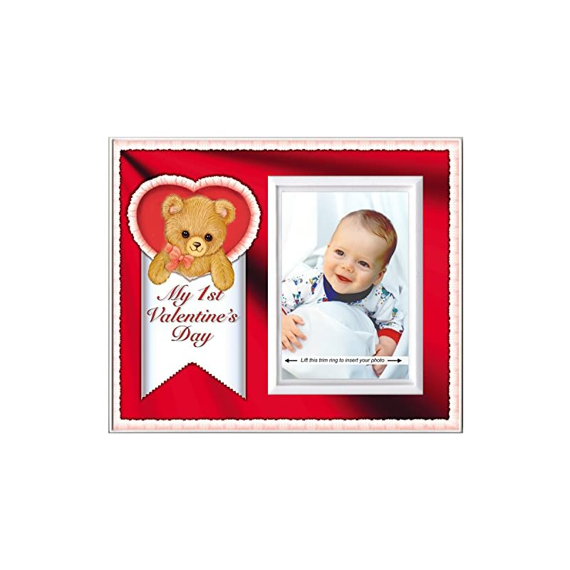 crib bedding and baby bedding my first valentine's day: baby's 1st valentines day picture frame   colorful photo frame nursery decor   gift photo frame for grandma,   easy to mail, size 8.25 x 7 in holds 3.5 x 5 photo   red theme
