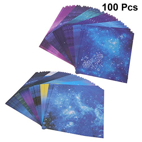 Toyvian 100 Sheets Square Shape Paper Foldings Double Sided Sheet Creative Origami for Arts Craft DIY Scrapbooking Scrunch Art