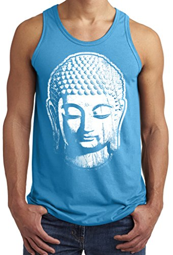 Mens Big Buddha Head Tank Top, Large Neon Blue Heather