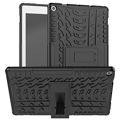 Tablet PC Bolsas Bandolera Cubierta de tableta para Amazon Kindle Fire HD 10 2020 Textura de neumáticos TPU a prueba de golpes TPU + PC Funda protectora con soporte de mango plegable ( Color : Black )