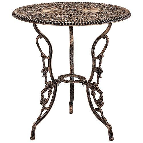 casa.pro Gartentisch/Bistro-Tisch 60cm, rund, Bronze mit 2 Stühlen – Französische Gartenmöbel im Antik-Look für Balkon/Terrasse – Bistro-Set wetterbeständig, Gusseisen-Metall als Gartendeko - 3