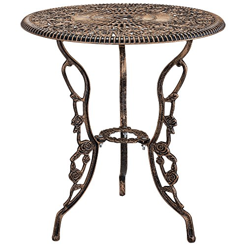 casa.pro Gartentisch/Bistro-Tisch 60cm, rund, Bronze mit 2 Stühlen - Französische Gartenmöbel im Antik-Look für Balkon/Terrasse - Bistro-Set wetterbeständig, Gusseisen-Metall als Gartendeko - 5